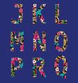 flower font capital English Alphabet vector image