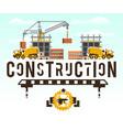 construction site crane lifting concrete slabs vector image