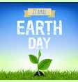 earth day card with young plant vector image