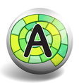 Alphabet A on round badge vector image vector image