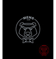 Bear mens Club Wild Animal logo on a black vector image