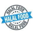 halal food blue round grunge vintage ribbon stamp vector image