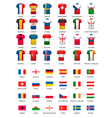 Collection of various soccer jerseys and flags of vector image