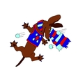 picture dachshund chasing snowballs in the vector image