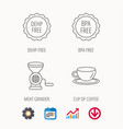 Coffee cup meat grinder and bpa free icons vector image