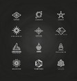 minimal geometric logo set on blackboard vector image