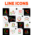 set of web linear thin line icons vector image
