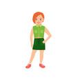 happy redhead girl in green suit vector image