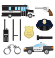 Set of police objects vector image vector image