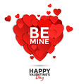 Valentine card with paper hearts vector