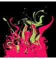 Bright pink and green colored splashes in abstract vector image