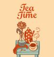 banner on tea theme with inscription tea time vector image