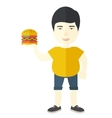 Man with hamburger vector image