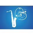 saxophone heart rom musical notes vector image