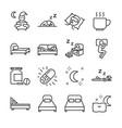 sleep line icon set vector image