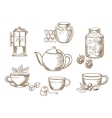 Tea icons with jam honey cups and teapots vector image