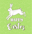 rabbit on a green background vector image vector image