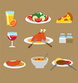 dinner flat icons vector image vector image
