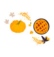 pumpkin thanksgiving pie and fall autumn leaves vector image