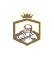 Welder Fabricator Welding Torch Shield Retro vector image