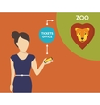 Booking tickets to zoo vector image