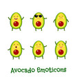 avocado smiles cute cartoon emoticons emoji icons vector image