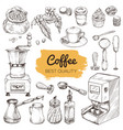 coffee set of hand drawn elements vector image