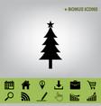 new year tree sign black icon at gray vector image