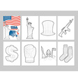 USA coloring book Patriotic in linear style of pa vector image