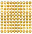 100 database and cloud icons set gold vector image