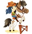Cowgirl on Small Horse jumping a Hurdle vector image