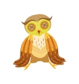 Sick Owl Cute Cartoon Character Emoji With Forest vector image
