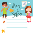 Back to school Design with two kids vector image