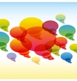 Rainbow transparent chat bubbles on colorful vector image