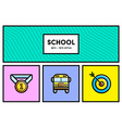 80s or 90s Stylish School Education Icon Set with vector image
