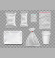 big set of plastic packaging - sacks tray cup vector image