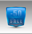 fifty percent sale blue emblem vector image