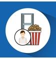 happy woman cartoon cinema pop corn vector image
