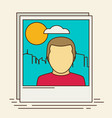 icon of instant photo frame with man and city vector image