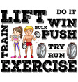 Man and woman doing weightlifting vector image