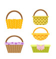 set of wicker baskets in vector image