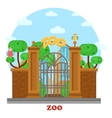 Zoo entrance with waterfall and parrots on tree vector image