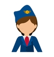 half body flight attendant with suit and hat vector image