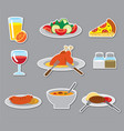 dinner stickers and badges vector image vector image