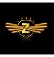 Letter Z winged crests logo Alphabet logotype vector image vector image