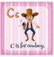 Flashcard letter C is for cowboy vector image