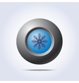 Blue button with snowflake icon vector image