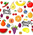 Fresh fruits flat style seamless background vector image