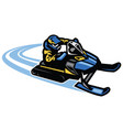 man ride snow mobile in action vector image