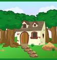 rural cartoon forest cabin landscape vector image